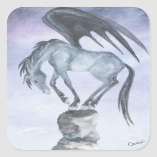 Dark Winged Fantasy Horse Stickers