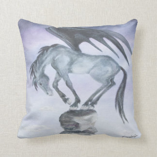 Dark Winged Horse Throw Pillow
