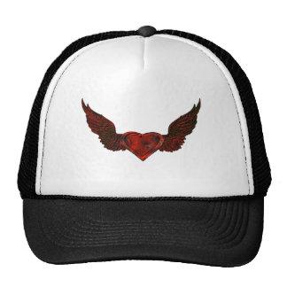 dark wings red heart trucker hat