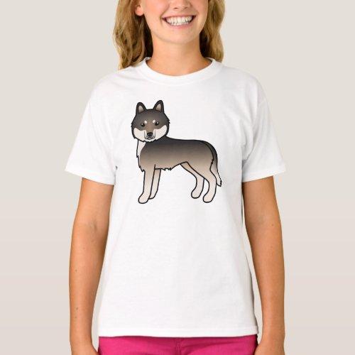 Dark Wolf Grey Siberian Husky Cute Cartoon Dog T_Shirt