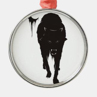 Dark Wolf Metal Ornament