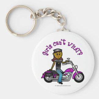 Dark Woman Biker Keychain