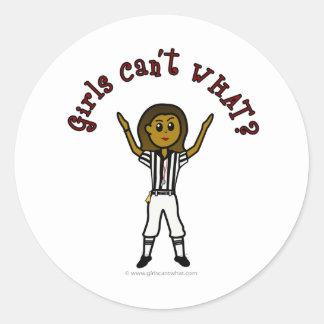 Dark Woman Football Referee Classic Round Sticker