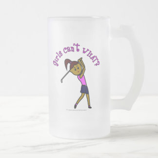 Dark Woman Golfer Frosted Glass Beer Mug