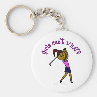 Dark Woman Golfer Keychain