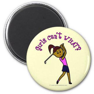 Dark Woman Golfer Magnets