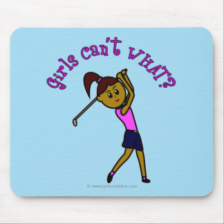 Dark Woman Golfer Mouse Pad