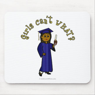 Dark Woman Graduate in Blue Gown Mouse Pad