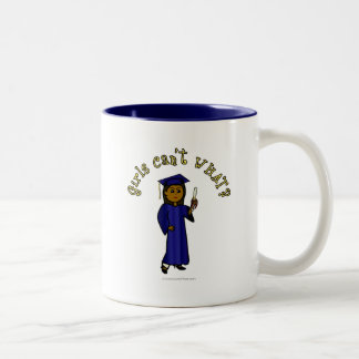 Dark Woman Graduate in Blue Gown Two-Tone Coffee Mug