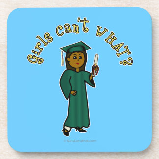 Dark Woman Graduate in Green Gown Drink Coaster
