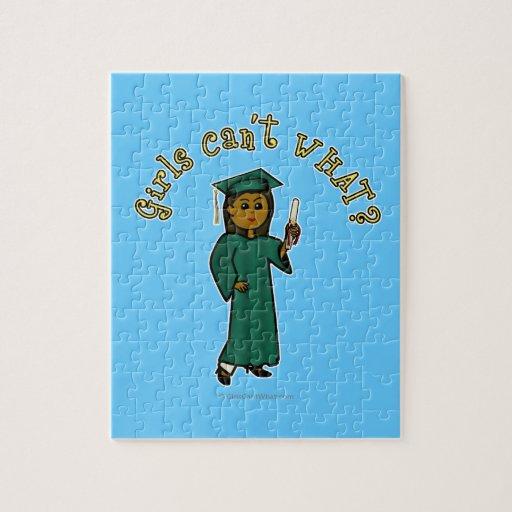Dark Woman Graduate in Green Gown Jigsaw Puzzles