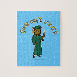 Dark Woman Graduate in Green Gown Jigsaw Puzzles