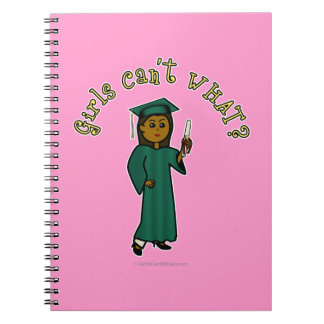 Dark Woman Graduate in Green Gown Spiral Notebook
