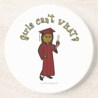 Dark Woman Graduate in Red Gown Coaster