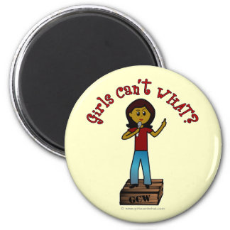 Dark Woman on Soapbox 2 Inch Round Magnet