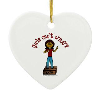 Dark Woman on Soapbox Double-Sided Heart Ceramic Christmas Ornament