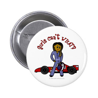 Dark Woman Race Car Driver 2 Inch Round Button