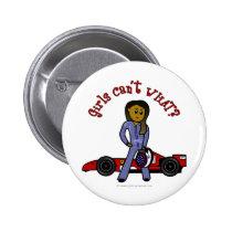 Dark Woman Race Car Driver Button