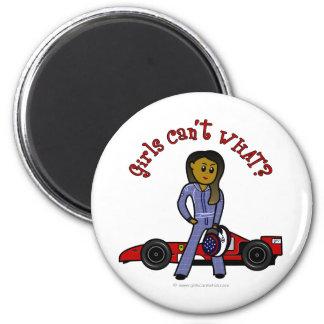 Dark Woman Race Car Driver Refrigerator Magnets