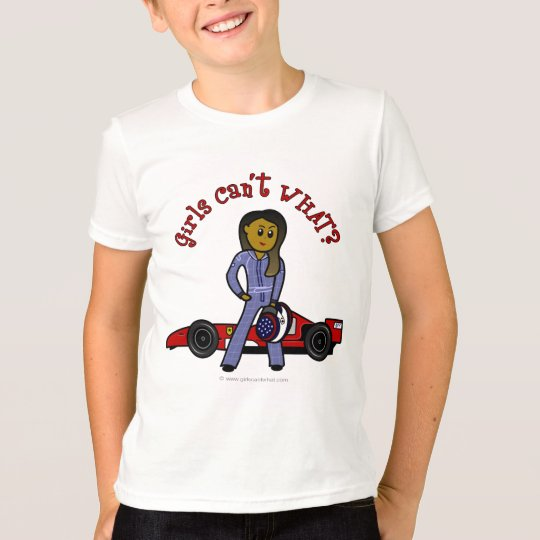 Dark Woman Race Car Driver T-Shirt