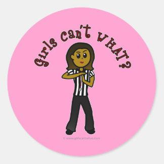 Dark Woman Referee Classic Round Sticker