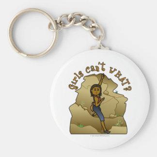 Dark Woman Rock Climber Basic Round Button Keychain