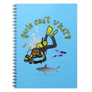 Dark Woman Scuba Diver Spiral Notebook