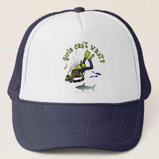 Dark Woman Scuba Diver Trucker Hat