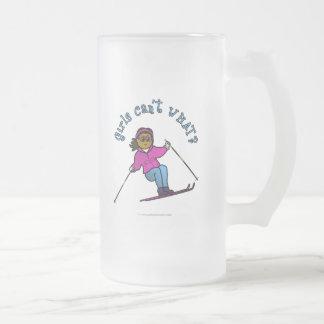 Dark Woman Snow Skiing Mug