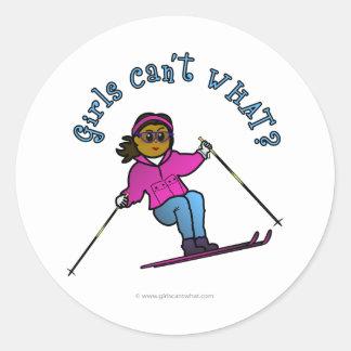 Dark Woman Snow Skiing Round Stickers