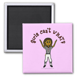 Dark Womens Football Referee 2 Inch Square Magnet