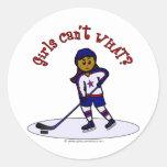 Dark Womens Hockey Player Classic Round Sticker