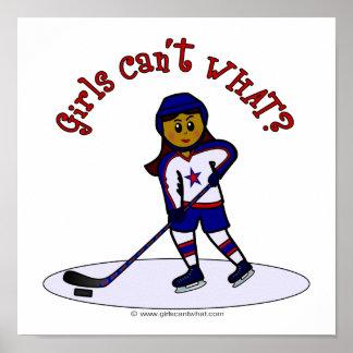 Dark Womens Hockey Player Poster