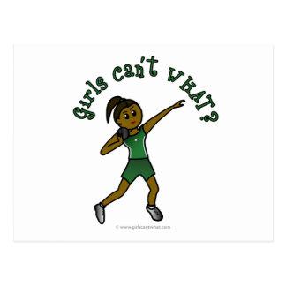 Dark Womens Shot Put in Green Uniform Postcard