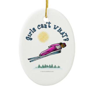 Dark Women's Ski Jumping Double-Sided Oval Ceramic Christmas Ornament