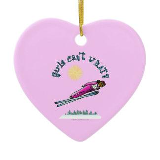 Dark Women's Ski Jumping Double-Sided Heart Ceramic Christmas Ornament