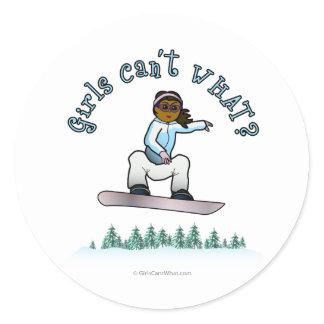 Dark Womens Snowboarding Classic Round Sticker