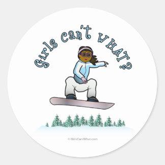 Dark Womens Snowboarding Round Stickers