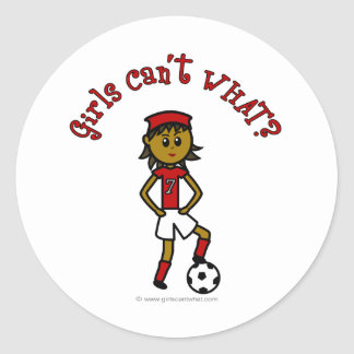 Dark Womens Soccer in Red Uniform Classic Round Sticker
