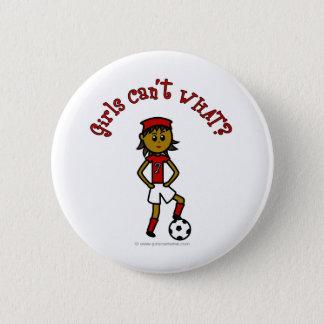 Dark Womens Soccer in Red Uniform Pinback Button
