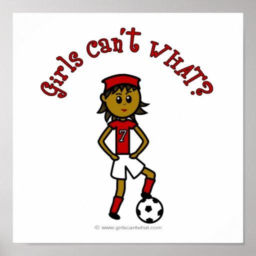Dark Womens Soccer in Red Uniform Poster