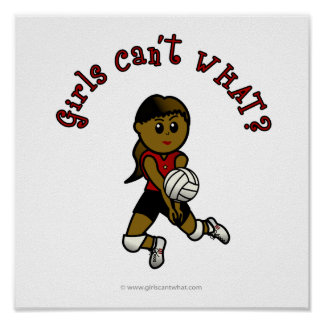 Dark Womens Volleyball in Red Uniform Poster
