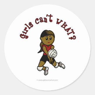 Dark Womens Volleyball in Red Uniform Stickers