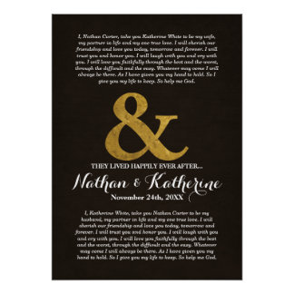 Dark Wood and Gold Wedding Vows Happily Ever After Poster