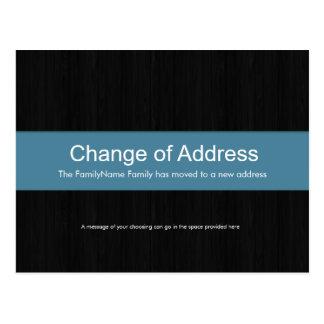 Dark Wood & Blue Change of Address Postcard