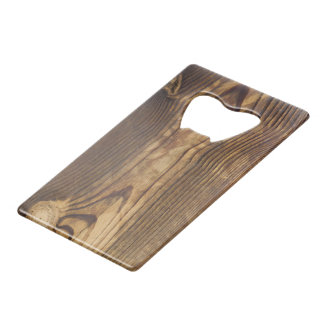 dark wood board credit card bottle opener