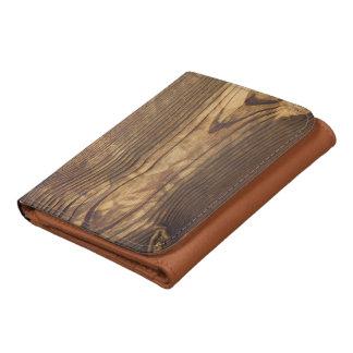 dark wood board tri-fold wallet