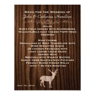 Dark Wood Deer Country Wedding Table Menu Card