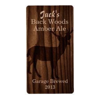 Dark Wood & Deer Silhouette Home Brew Beer Label Shipping Label