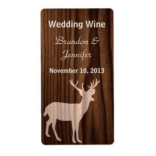 Dark Wood Deer Wild Life Mini Wine Labels
